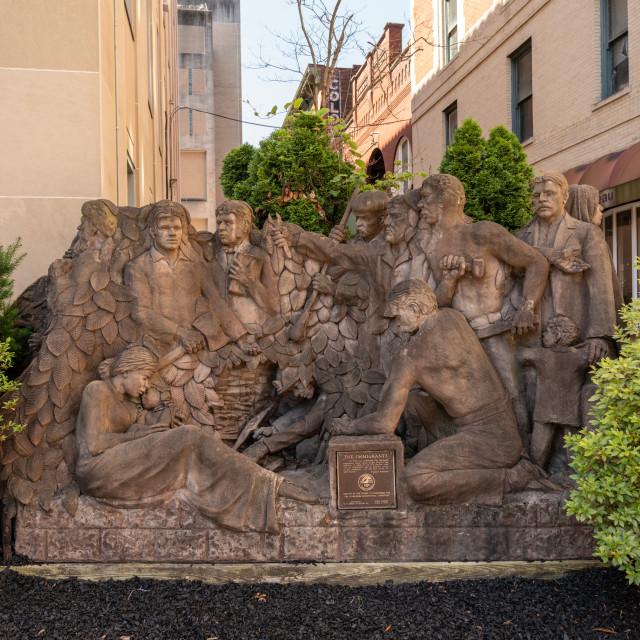 """""""The Immigrants statue in Clarksburg West Virginia"""" stock image"""