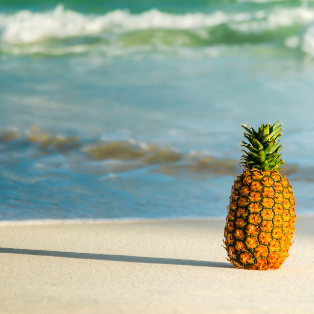 """Pineapple on the beach"" stock image"