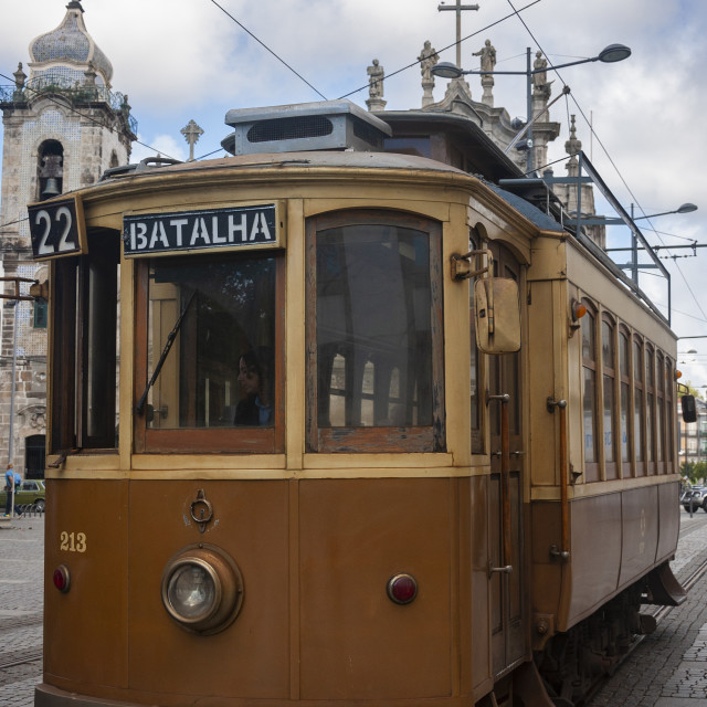 """Porto, Portugal - October 10, 2010: An old tram in the city of Porto, Portugal"" stock image"