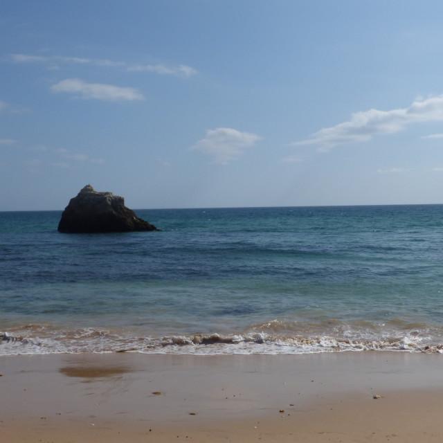 """""""Beach and Nature, Rocky Coastline Portugal Portimão"""" stock image"""