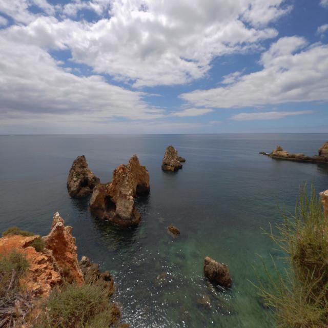 """""""Rocky Coastline, Portugal Algarve Portimão"""" stock image"""