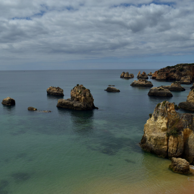 """Beach and Nature, Rocky Coastline, Portugal Algarve Portimão"" stock image"