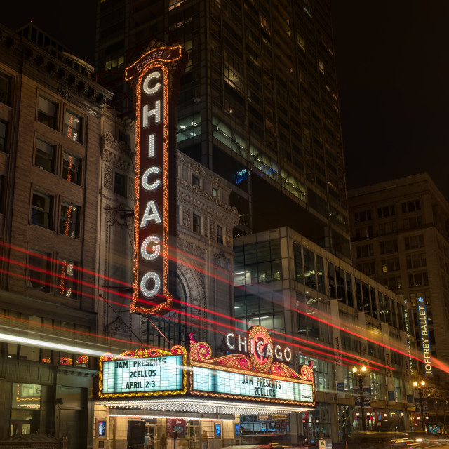 """Chicago Theater Marquee Night"" stock image"