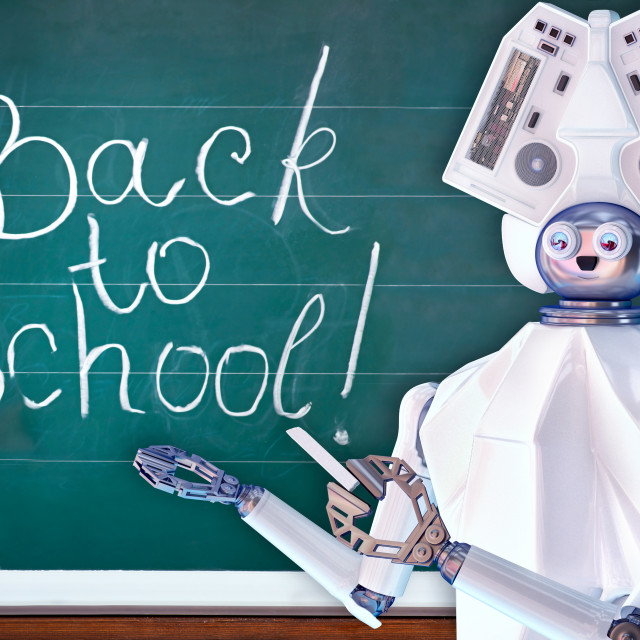 """Teacher robot with artificial intelligence in school class blackboard."" stock image"