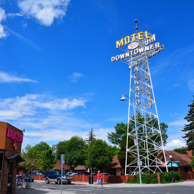 """""""Neon Sign of the Downtowner Motel."""" stock image"""