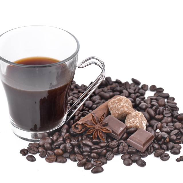 """""""cup of coffee in beans and spices"""" stock image"""