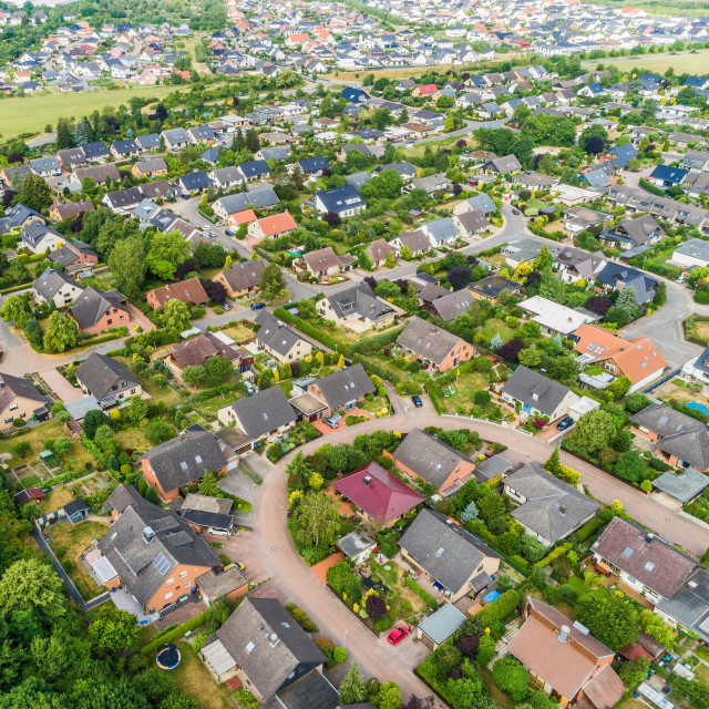 """""""Typical German new housing development in the flat countryside of northern..."""" stock image"""