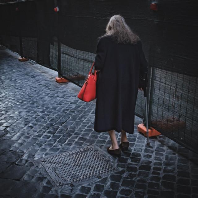"""Lone walker Rome 2018"" stock image"
