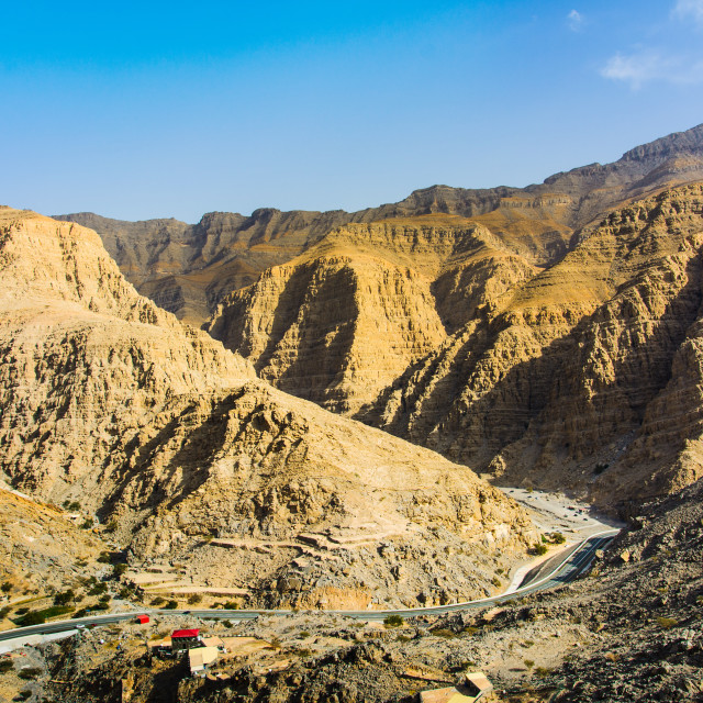 """Stunning desert mountain scenery of Jabal Jais in the UAE"" stock image"