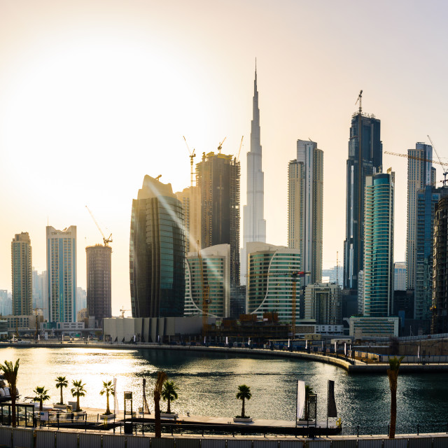 """Panoramic view of downtown Dubai cityscape at sunset"" stock image"