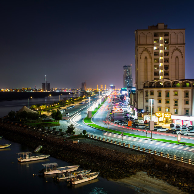 """Ras Al Khaimah Corniche road and creek at dusk, the heart of nor"" stock image"