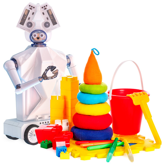 """""""Robot toy on wheels and kids plastic toys."""" stock image"""
