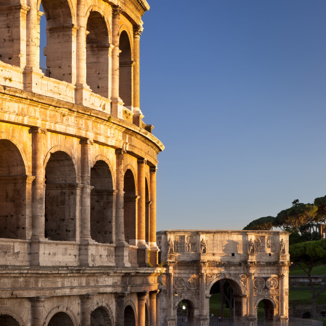 """The Roman Coliseum and Arch of Constantine at sunset, Rome Lazio Italy"" stock image"