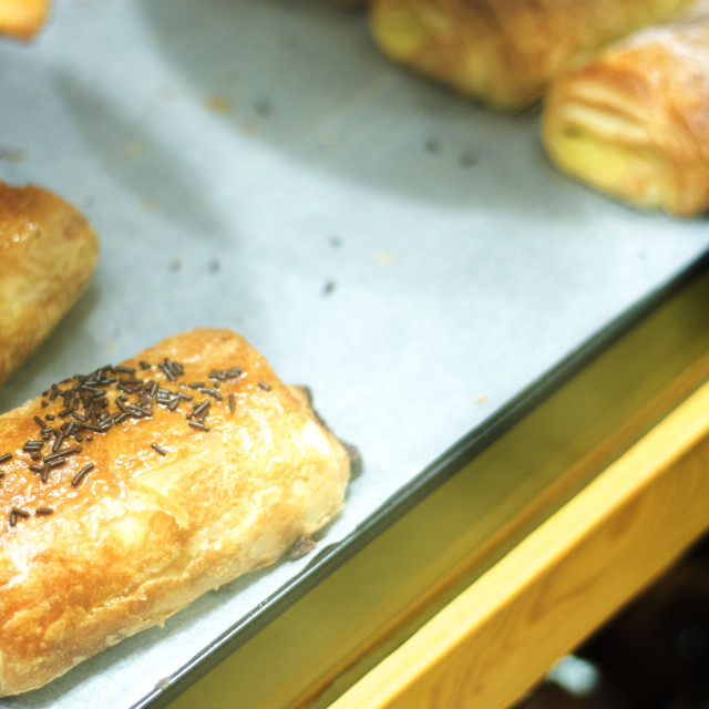 """""""Croissants in bakery bread shop"""" stock image"""
