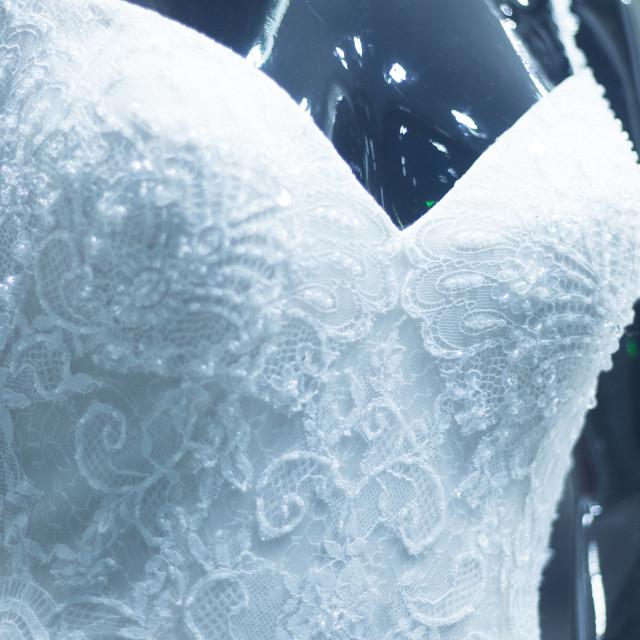 """Bridal shop dummy bride mannequin"" stock image"