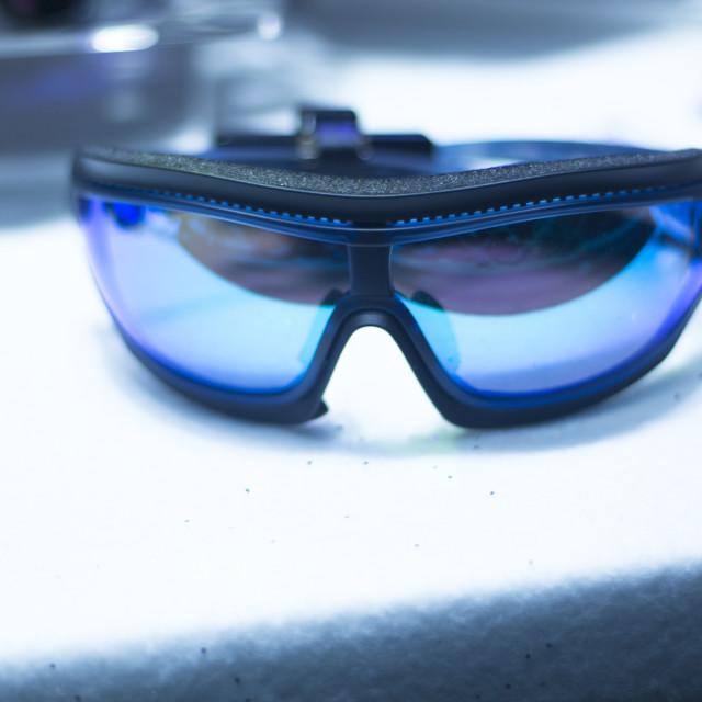 """Ski shop goggles on sale"" stock image"