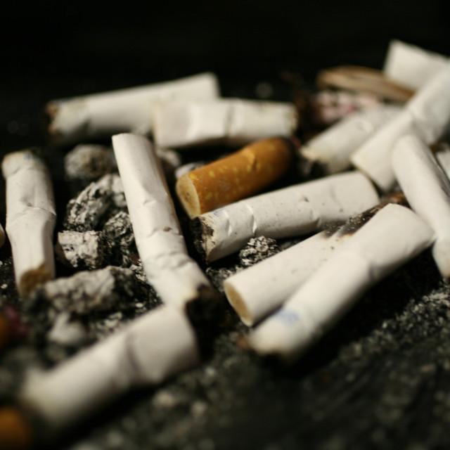 """""""Cigarette butt ash tray"""" stock image"""