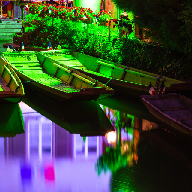 """""""Boats in Colmar city at night"""" stock image"""