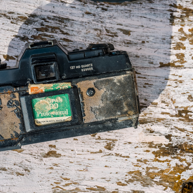 """Rear view of an Old and broken Contax 35mm Film camera"" stock image"
