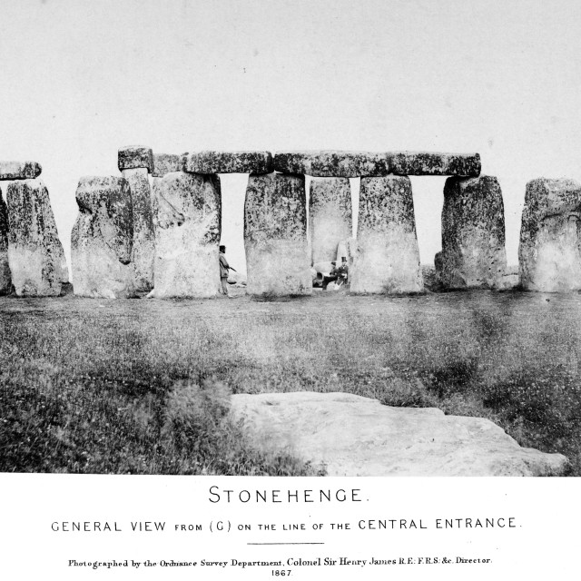 """Earliest Stonehenge photo sequence. General View from (G) on the line of the Central Entrance. One of a set of eight very early photographs of Stonehenge"" stock image"