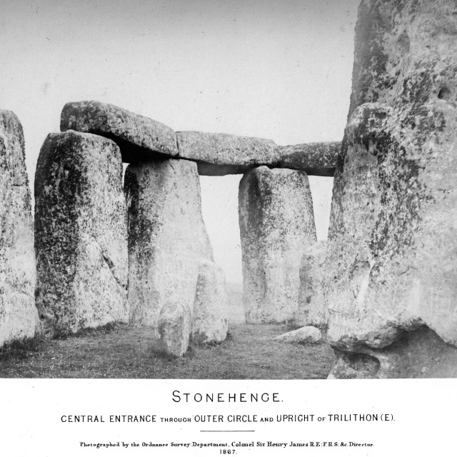 """""""Earliest Stonehenge photo sequence. Central entrance through outer circle and upright of Trilithon (E). One of a set of eight very early photographs of Stonehenge."""" stock image"""