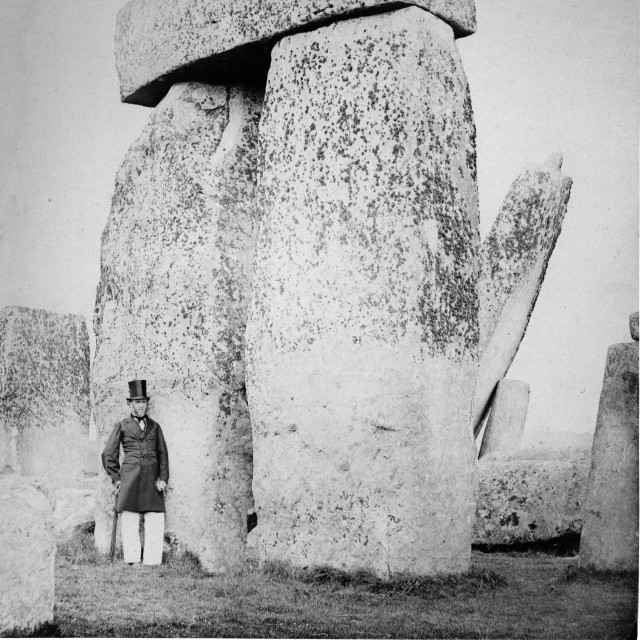 """""""Earliest Stonehenge photo sequence. Trilithon (B) on the left of the Altar Stone. One of a set of eight very early photographs of Stonehenge"""" stock image"""