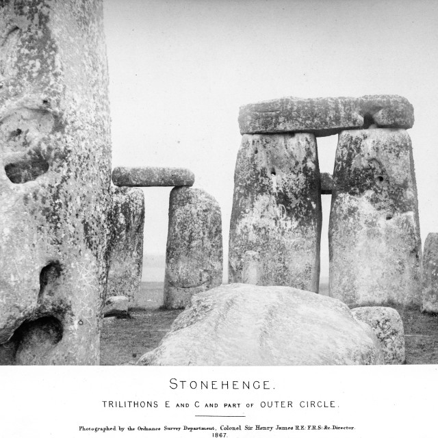 """""""Earliest Stonehenge photo sequence. Trilithons E and C and part of outer circle. One of a set of eight very early photographs of Stonehenge."""" stock image"""