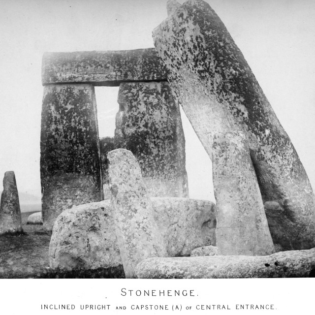 """Earliest Stonehenge photo sequence. Inclined Upright and Capstone (A) of Central Entrance. One of a set of eight very early photographs of Stonehenge."" stock image"