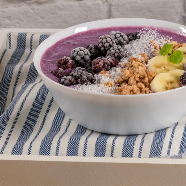 """Blueberry smoothie bowl"" stock image"