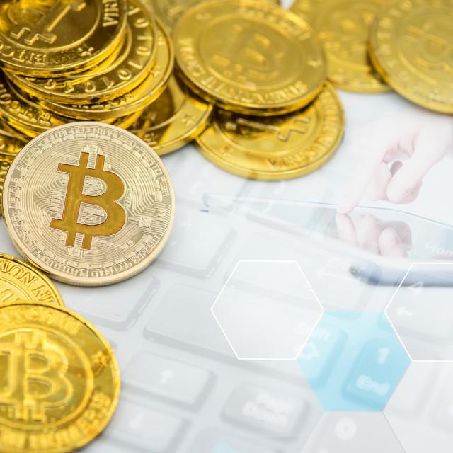 """Bitcoin. New virtual money technology business for blockchain"" stock image"