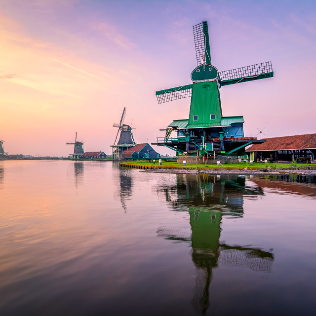"""The traditional windmills over at the Zaanse Schans"" stock image"