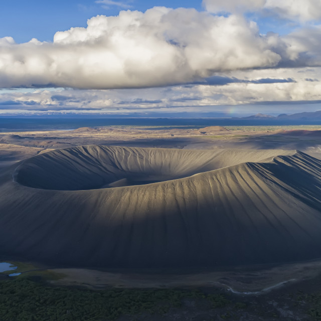 """""""Panoramic image of an extinct volcano in the Lake Myvatn region; Iceland"""" stock image"""