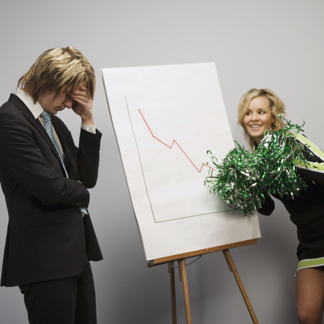 """Cheerleader And Businessman"" stock image"