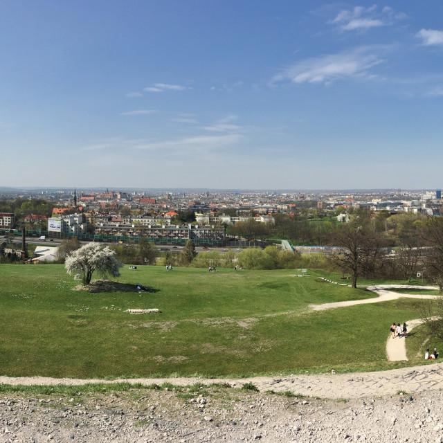 """Kraków: view from Krakus Mound"" stock image"