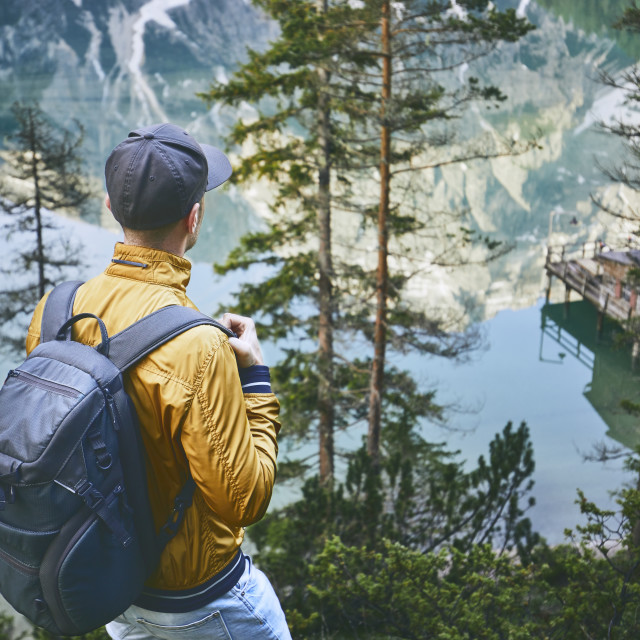 """Tourist in mountains"" stock image"