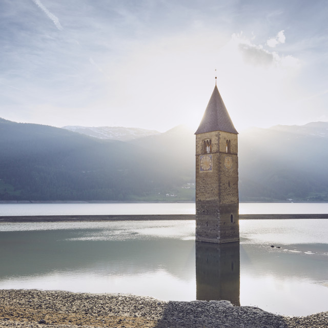 """Church tower in lake"" stock image"