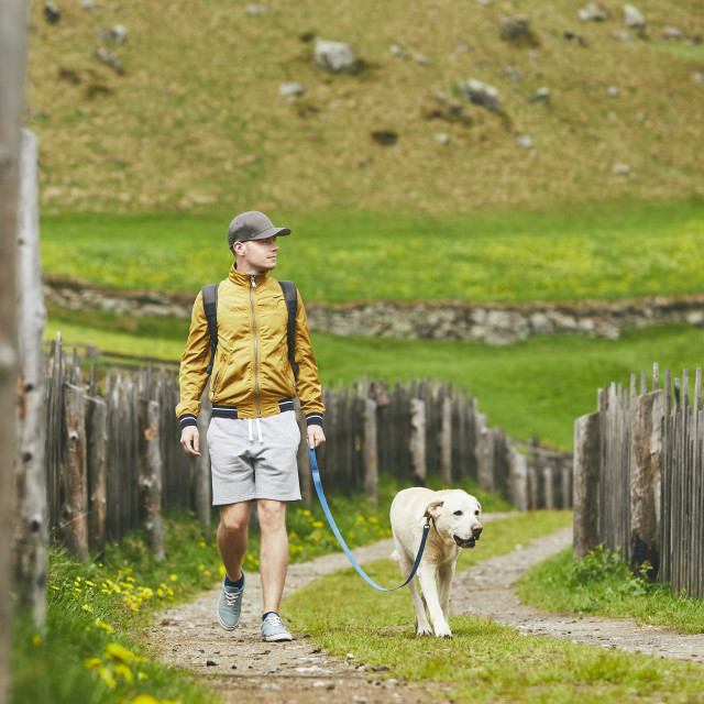 """Tourist with dog in countryside"" stock image"