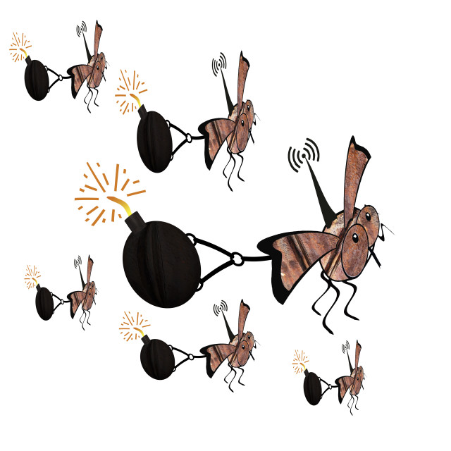 """""""Radio controlled, robot fly, mini drone, Ornithopter pulling a bomb. Killer drones, slaughterbots, swarm."""" stock image"""