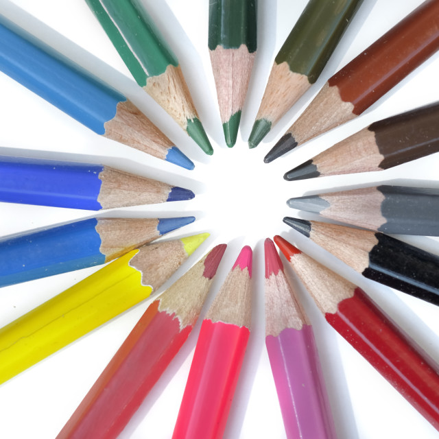 """""""coloured pencils arranged in circle"""" stock image"""