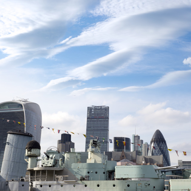 """""""hms belfast and the city of london"""" stock image"""