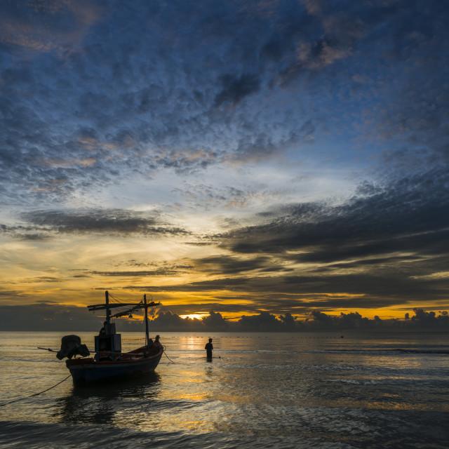 """""""Beautiful scenic in Hua Hin, Bangkok with fishing boat"""" stock image"""