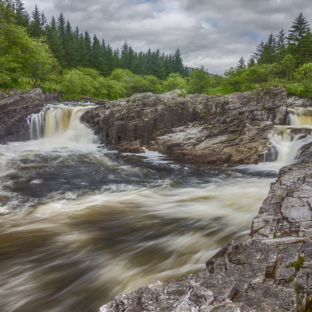 """""""Eas a' Chathaidh Waterfall, Glen Orchy"""" stock image"""