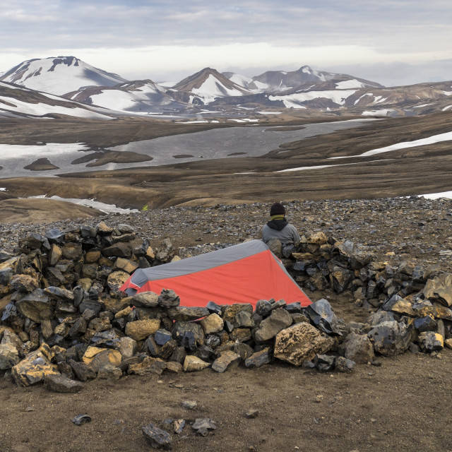 """Tent at the Camping Area of Hrafntinnusker, Iceland"" stock image"