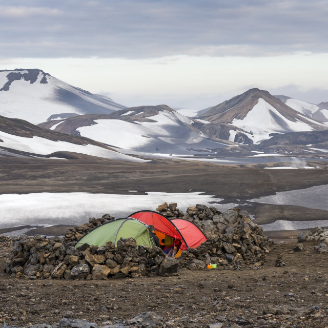 """Tents at the Camping Area of Hrafntinnusker Iceland"" stock image"
