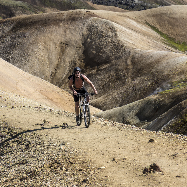 """Mountain Biking on the Laugavegur Trail near Landmannalaugar"" stock image"