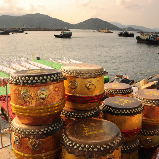 """Dragonboat drums in Hong Kong"" stock image"