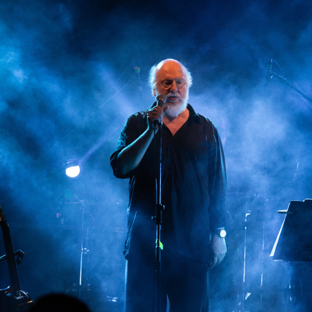 """""""Dionysis Savvopoulos on Stage"""" stock image"""