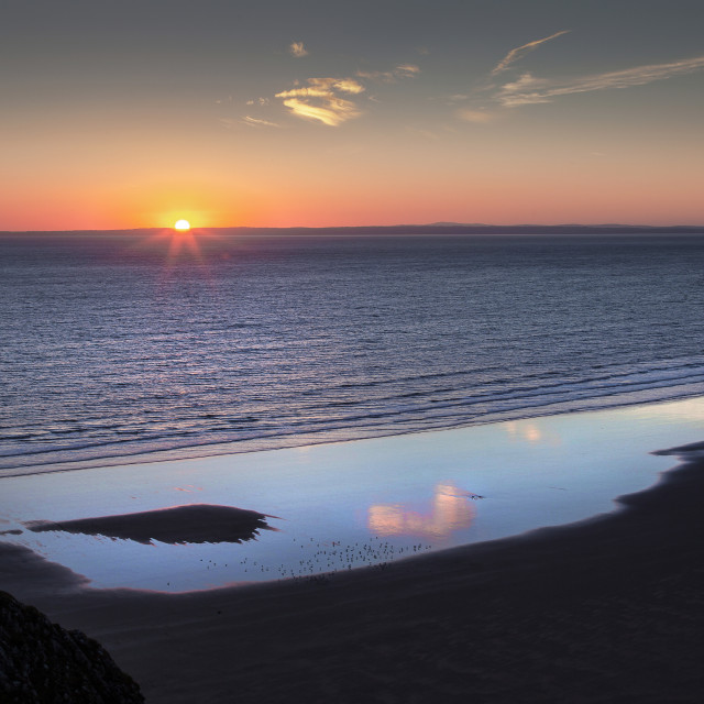 """Rhossili Summer Solstice sunset 2018"" stock image"