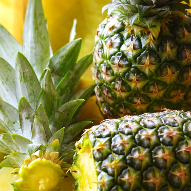 """""""Ripe sliced pineapple (Ananas comosus)"""" stock image"""