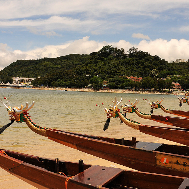 """Getting ready for the Dragon boat races to begin"" stock image"
